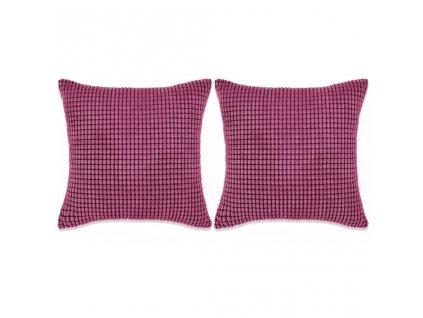 Sada polštářů 2 ks velur, 60 x 60 cm, růžové