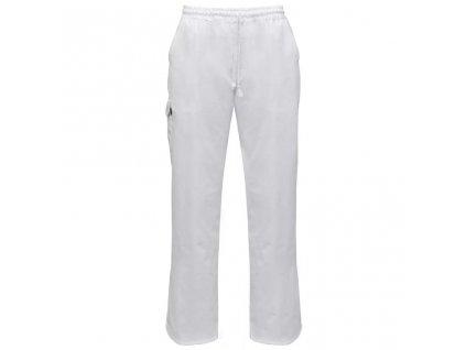 Kuchařské kalhoty 2 ks s gumou a šňůrou v pase vel. M bílá