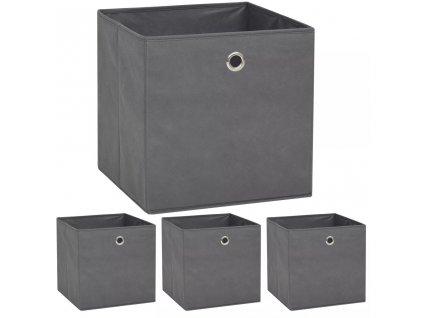 Úložné boxy 4 ks netkaná textilie 32 x 32 x 32 cm šedé