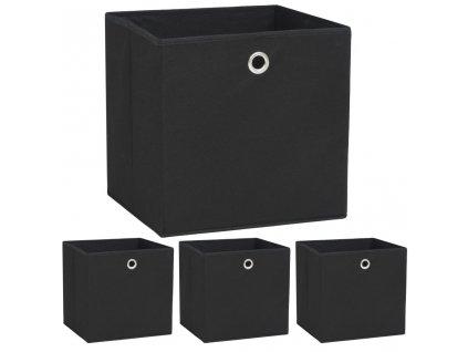 Úložné boxy 4 ks netkaná textilie 32 x 32 x 32 cm černé