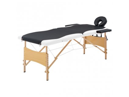 Skládací masážní stůl 2 zóny dřevěný černý a bílý
