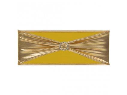 Elastické šerpy na židli 25 ks s diamantovou přezkou zlaté