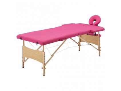 Skládací masážní stůl 2 zóny dřevěný růžový