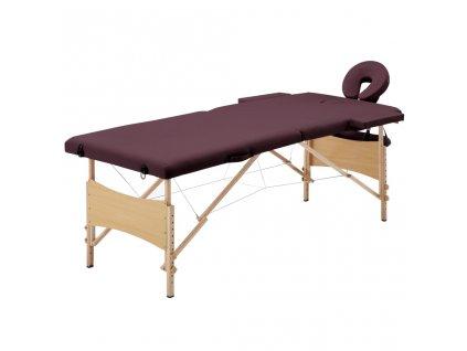 Skládací masážní stůl 2 zóny dřevěný vínově fialový