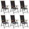 Skládací zahradní židle 6 ks textilen černé