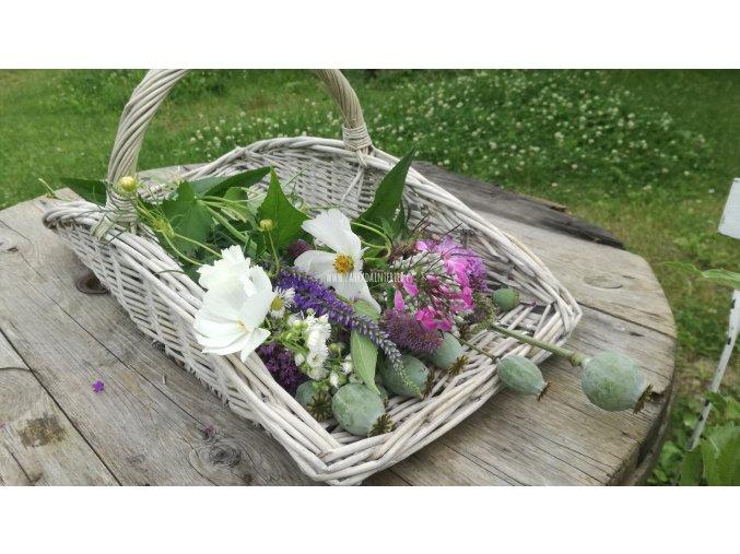 Košík na květiny šedý