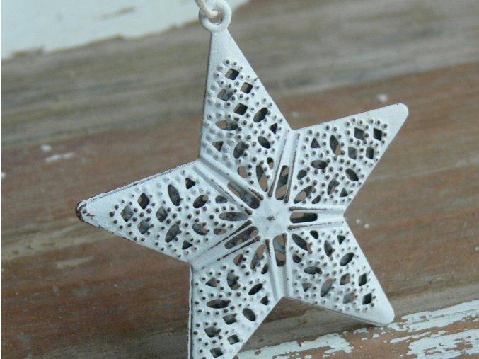 Hvězda bílá závěsná plech 7 cm