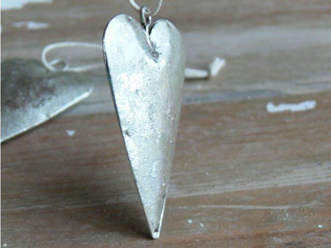 Srdce stříbrné na provázku 5,5 cm