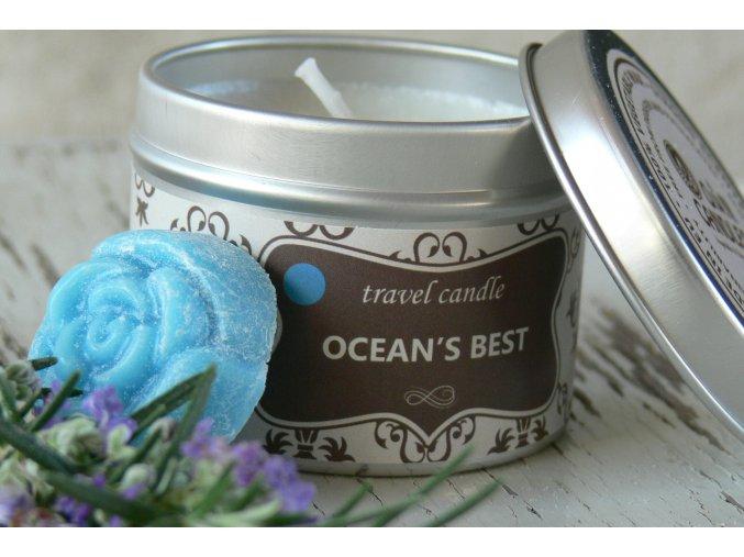 Svíčka v plechovce na cesty - vůně oceán