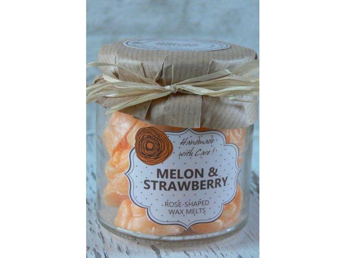 Meloun a jahoda - vonný vosk ve skleněné dóze 18 kusů