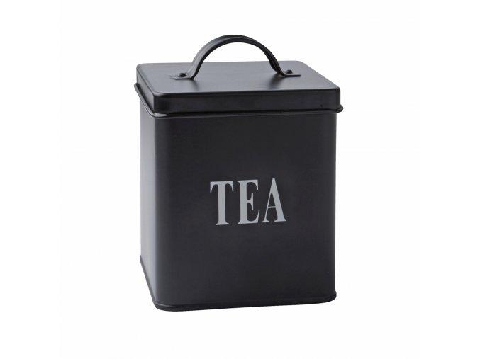 Plechová dóza na uskladnění čaje černá