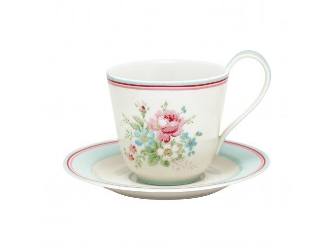 Porcelánový šálek s podšálkem Marie white