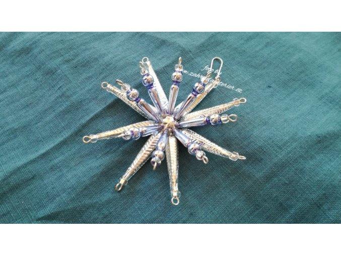 Perličková ozdoba - hvězda modrostříbrná