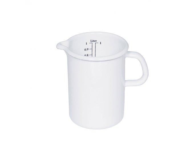 Smaltovaná odměrka bílá 1 litr