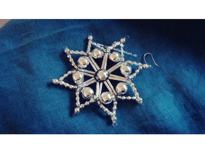 Perličková ozdoba stříbrná hvězdička