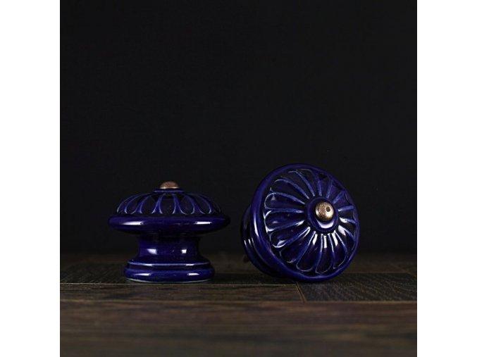 Knopka velká kobalt vzor kopretina