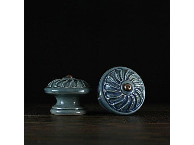 Knopka modrá velká vzor větrník