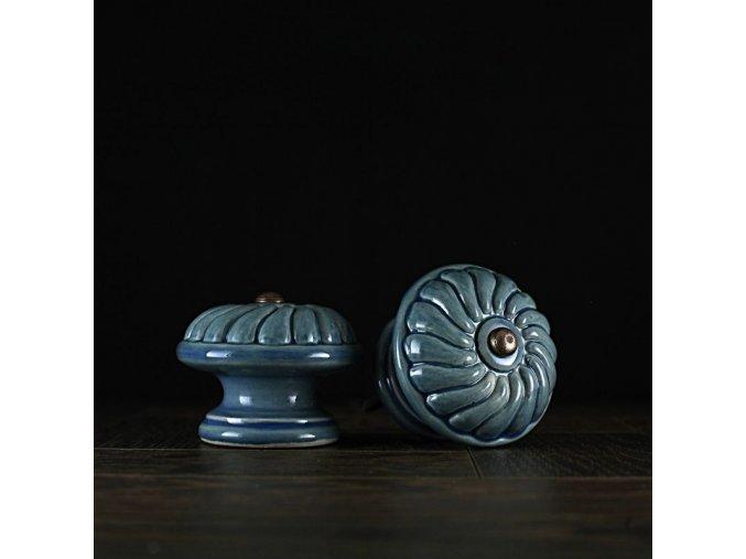 Knopka modrá velká vzor rozeta