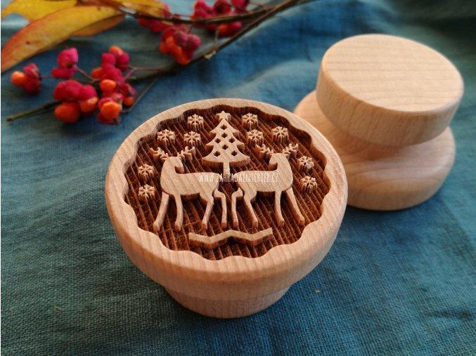 Dřevěné razítko větší zimní les