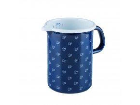 Smaltovaná odměrka modrá s květy 1 litr