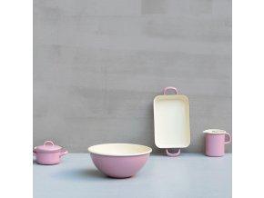 Smaltovaný rendlík s rukojetí růžový 1 litr