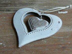 Ozdoba plechové srdce bílé 7x6,5 cm