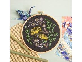 black japanese garden embroidery kit 1