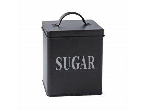Plechová dóza na cukr černá