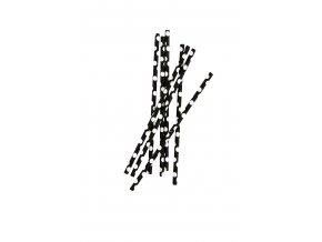Papírové slámky 50 kusů černá/bílá