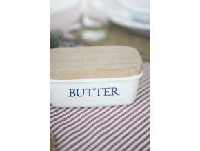 Smaltovaná dóza na máslo s dřevěným víčkem