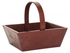 Dřevěný košík s uchem  červený