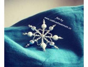 Perličková ozdoba vločka modrostříbrná