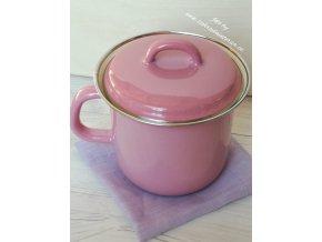 Kastrůlek růžový s pokličkou 1 litr
