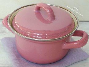 Kastrůlek růžový s pokličkou 1/2 litru