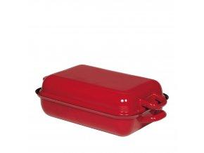 Smaltovaný pekáč s poklopem červený