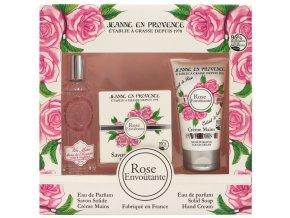 PF02846 Jeanne en Provence Dárková sada Růže (Parfémovaná voda EDP+mýdlo+krém na ruce)l