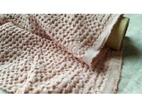 Vaflová lněná látka odstín pink