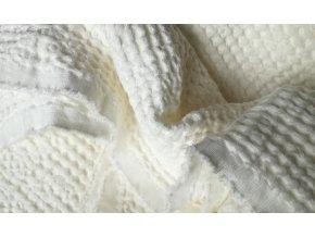 Lněná látka waffle white
