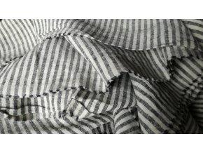 Lněná látka black stripes