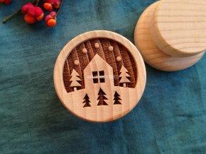 Dřevěné razítko větší zimní krajina