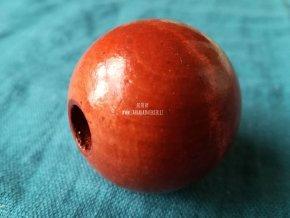 Dřevěný korálek velký 4 cm červený