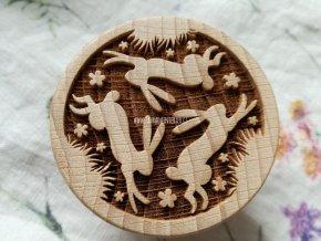 Dřevěné razítko větší zajíci