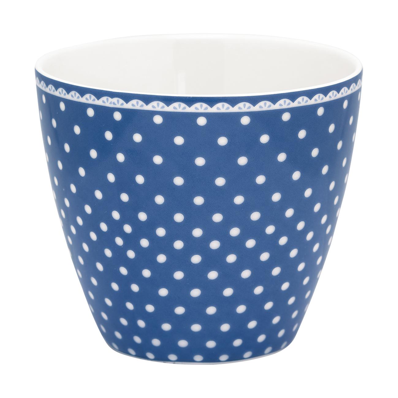 Latte šálek modrý s puntíky