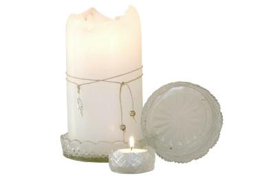 Skleněná broušená miska - tácek, svícen