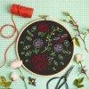 black rose garden embroidery kit 1