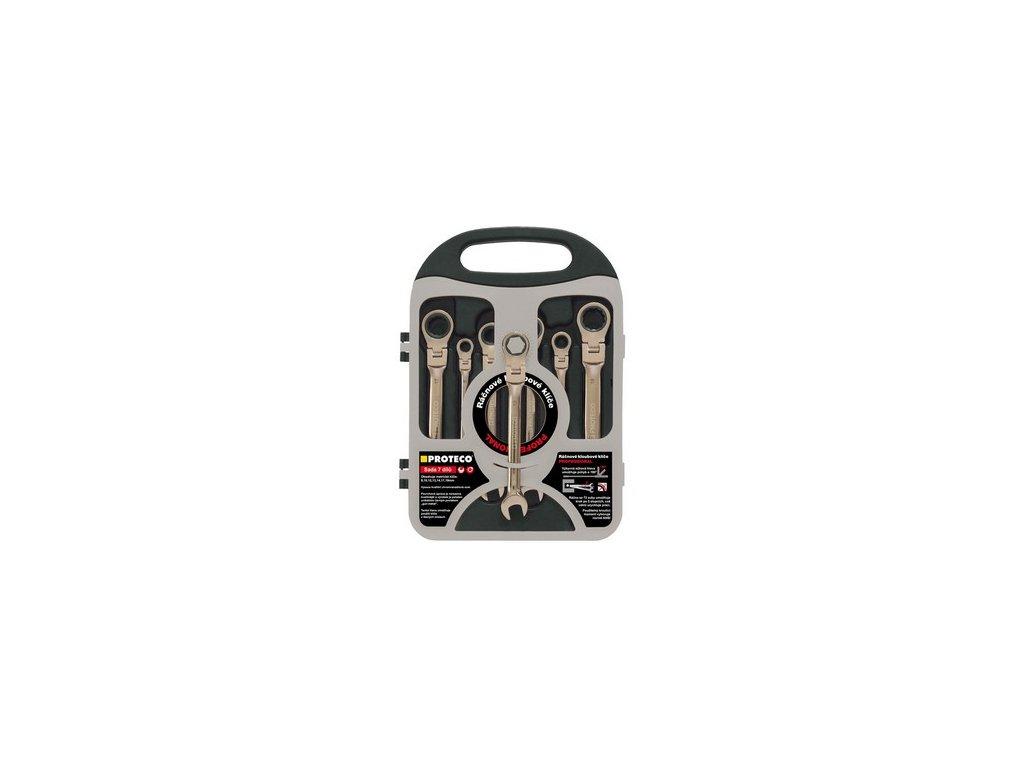 PROTECO sada klíčů ráčnových s kloubem 7-dílná v plastovém držáku