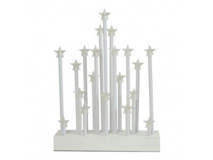 svícen vánoční el.20 svíček LED, hvězda, dřev.BÍ, 22,3x29,5x5cm