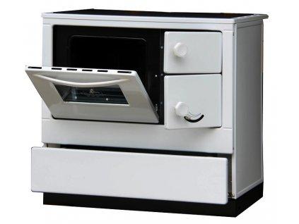 Sporák s výměníkem OKONOM 85 De Luxe AQUA levý bílá