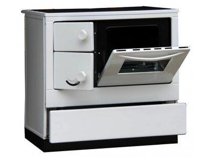 Sporák s výměníkem OKONOM 85 De Luxe AQUA pravý bílá
