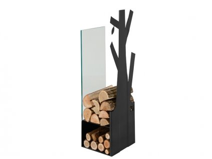 Zásobník na dřevo sklo černý 270mm